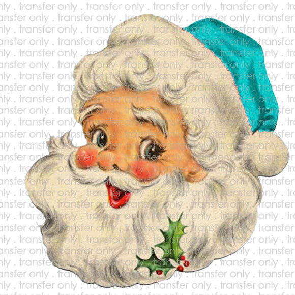Turquoise Santa Head Sublimation Transfer