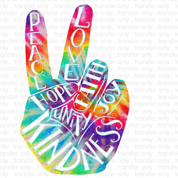 Tie dye peace hands Sublimation Transfer