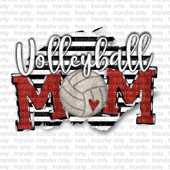 Volleyball Mom Black Stripe Sublimation Transfer
