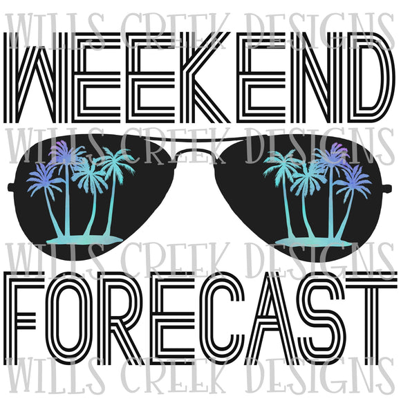 Weekend Forecast Palm Trees Digital Download
