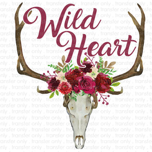 Wild Heart Floral Skull Sublimation Transfer