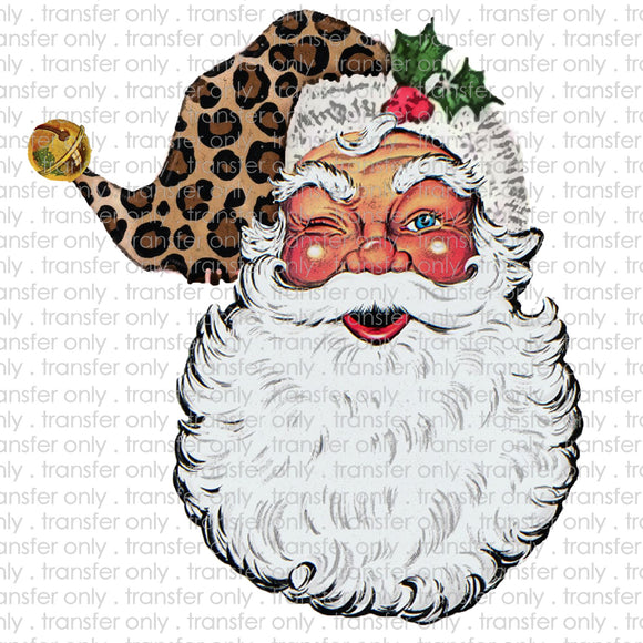 Winking Santa Cheetah Sublimation Transfer