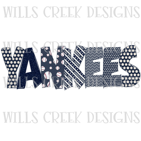 Yankees Doodle Sublimation Transfer