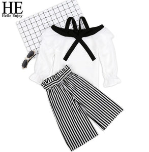 HE Hello Enjoy Baby Girls Suits Kids Clothes 2018 New Autumn Fashion Plaid Bow Doll Shirt+Hip Skirt Sets Children Clothing Girls