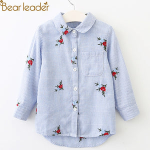 Bear Leader Girls Shirts 2018 New Autumn Shirts Rabbit Flower Embroidered Long Sleeve Denim Shirt Girls Clothings For 3-9 Years