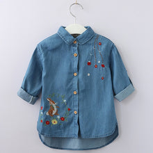 Load image into Gallery viewer, Bear Leader Girls Shirts 2018 New Autumn Shirts Rabbit Flower Embroidered Long Sleeve Denim Shirt Girls Clothings For 3-9 Years