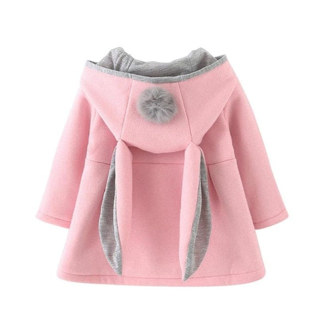 Winter Autumn Spring Baby Girls Cute Coat Jacket Long Sleeve Rabbit Ear Hoodie Casual Outerwear Baby Infants  Christmas Outwear
