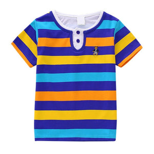 Striped T-shirt Baby Girl Clothes Summer Color Striped T-shirt Fashion Boy Clothes Beach Out Girl T-shirt Rainbow