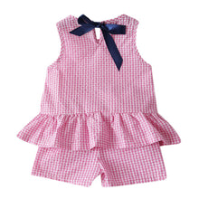 Load image into Gallery viewer, Toddler Kids Baby Girls Outfits Clothes Plaid Sleeveless Vest T-shirt+Shorts Set