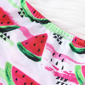 Kids Baby Girls Tassel Watermelon Print Summer Swimwear Swimsuit Bikini Outfits