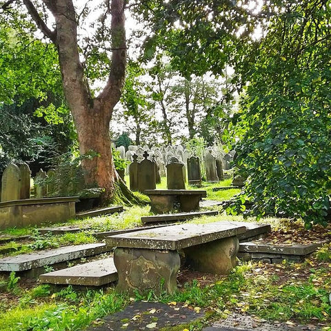 The graveyard at the Brontë parsonage in Haworth, England. Photo by Bryana Joy, 2020.