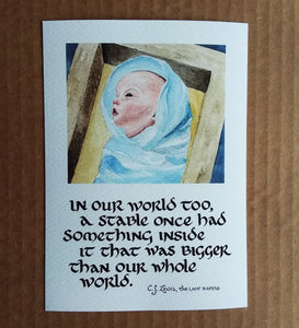 In Our World Too (Christ Child Painting with C.S. Lewis Quote)