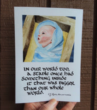 Load image into Gallery viewer, In Our World Too (Christ Child Painting with C.S. Lewis Quote)
