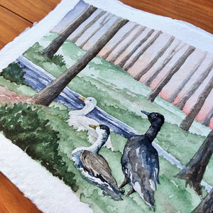 Motley Duck Sunset: Original Watercolor Painting