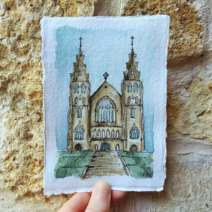 St. Patrick's Cathedral in Armagh, Northern Ireland: Original Watercolor Sketch