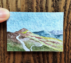 Rain Over The Croagh Patrick Hills: Original Watercolor Tiny Landscape