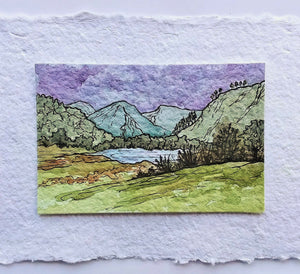Glendalough Lake, County Wicklow: Original Miniature Watercolor Sketch