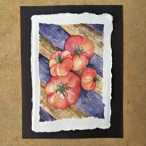 Quartet of Summer Tomatoes: Original Watercolor Painting