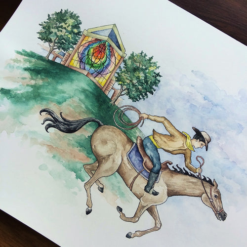RESERVED for Hardin-Simmons University: Traveling Range Riders Original Painting and Initial Print Batch