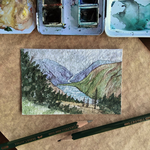 Glendalough Lake, County Wicklow (II): Original Miniature Watercolor Sketch