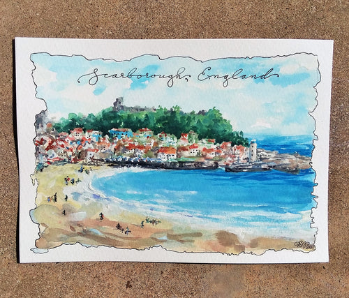 South Bay Beach (Scarborough, England): Original Watercolor Sketch