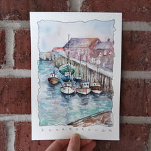 Load image into Gallery viewer, Boats in the South Bay (Scarborough, England): Original Watercolor Sketch