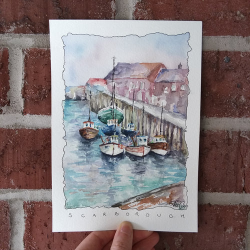 Boats in the South Bay (Scarborough, England): Original Watercolor Sketch