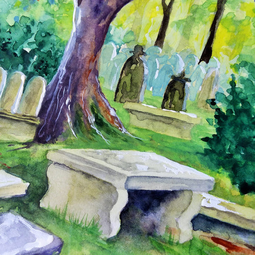 The Graveyard at the Brontë Parsonage in Haworth: Original Watercolor Sketch