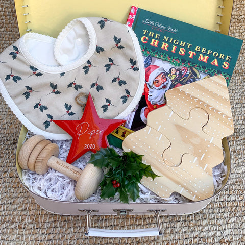 Limited Edition Christmas Baby Box (Holly Leaf Bib OSFA)