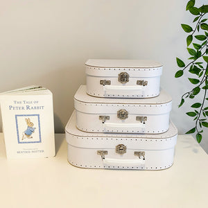 White Suitcase Boxes with Stitching Detail