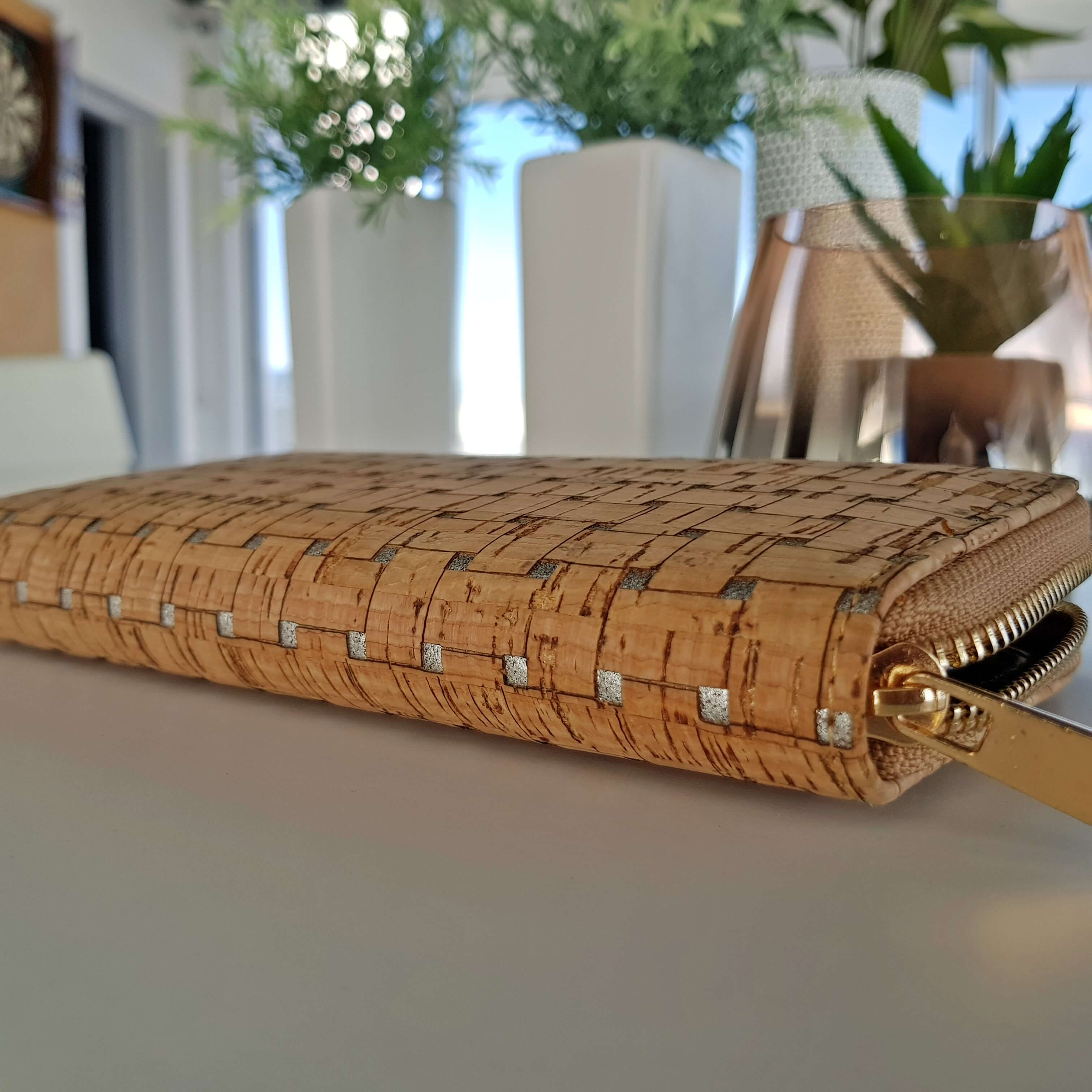 Silver Cork Hard Wallet
