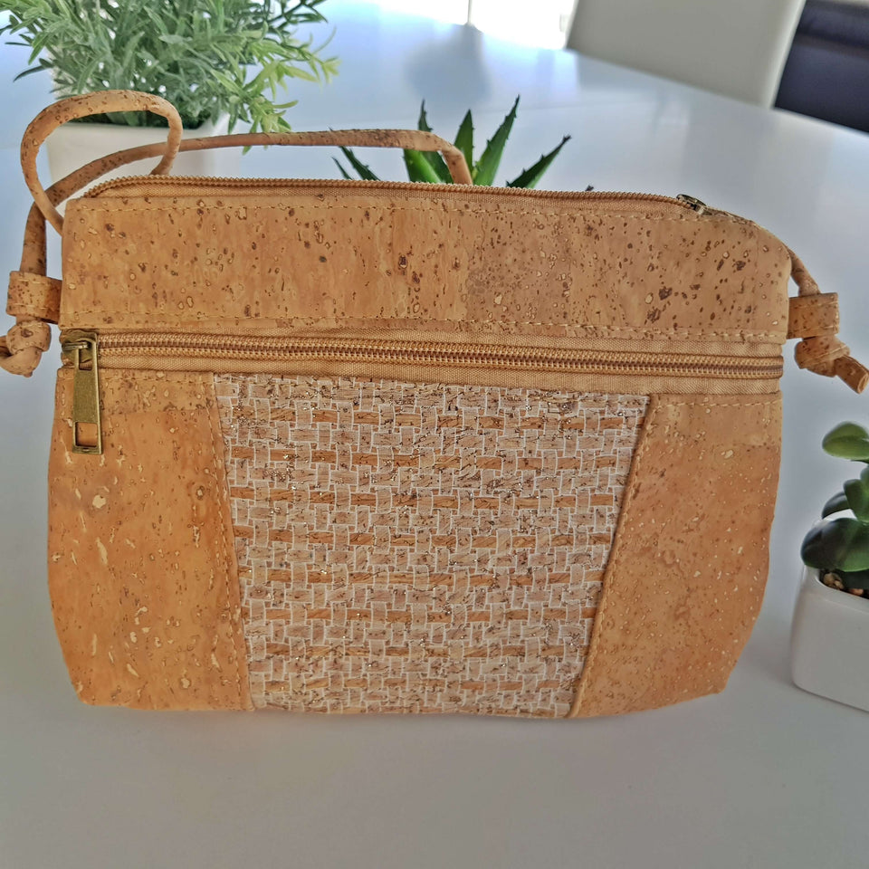 White Grid Natural Cork Crossbody Bag