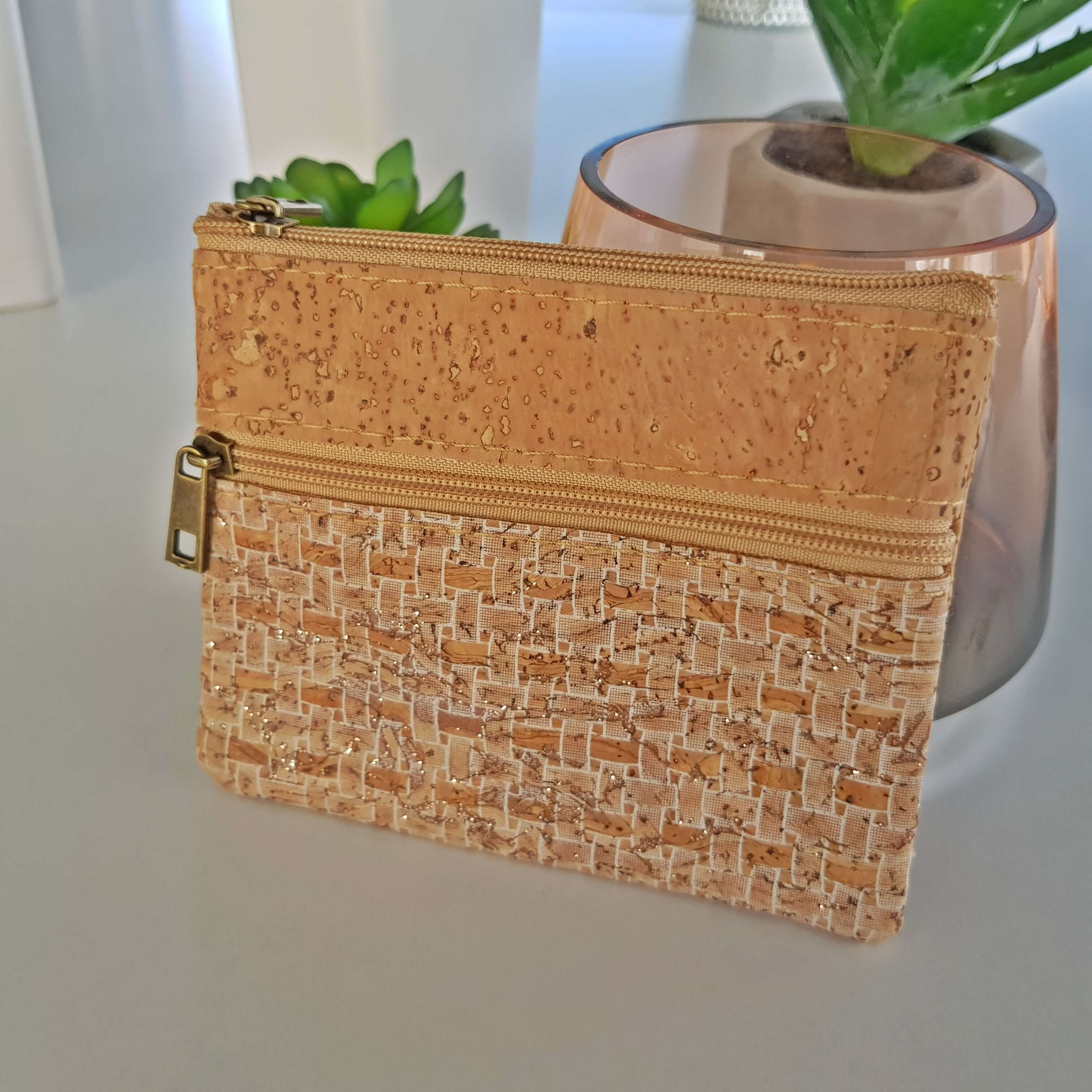 White Grid Coin Cork Wallet