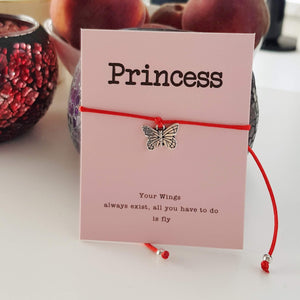 Princess Butterfly Charm Card Red String Bracelet