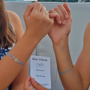 Best Friends Gift Card Bracelets and girls doing a pinky promise
