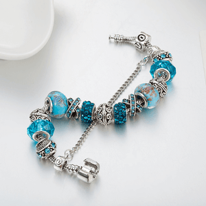 Blue Crystal Charm Bracelet close-up