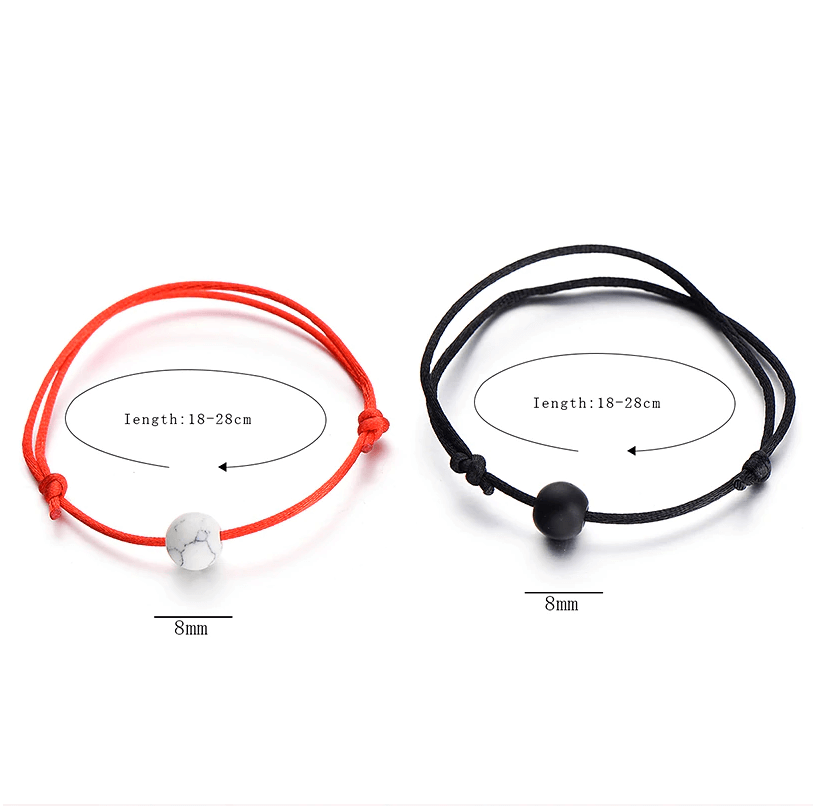 Red string and black string natural stone pair of bracelets