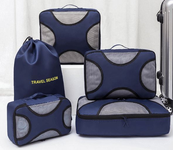 Travel packing set in blue