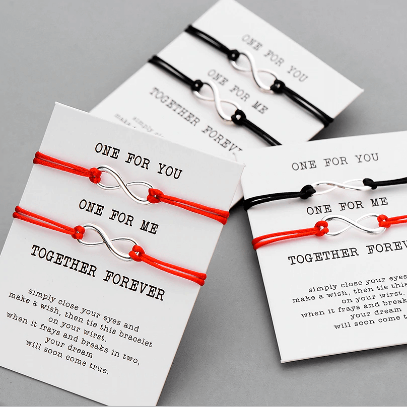 One for you one for me red string card bracelet