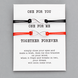 One for you one for me thank you card bracelet