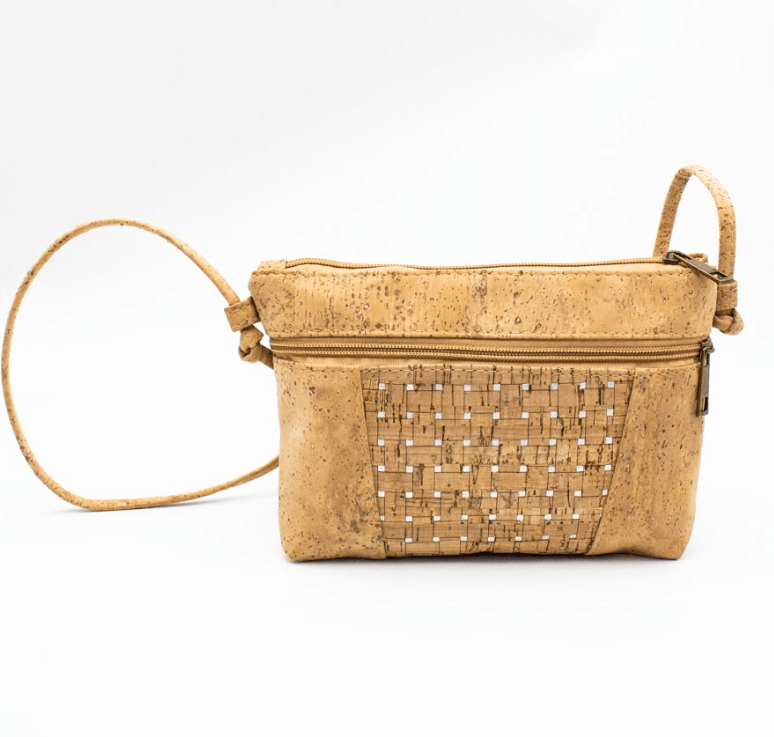 Silver Grid Natural Cork Crossbody bag