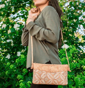 Cork Vegan Leather Cross-body Bag - Leaf Pattern