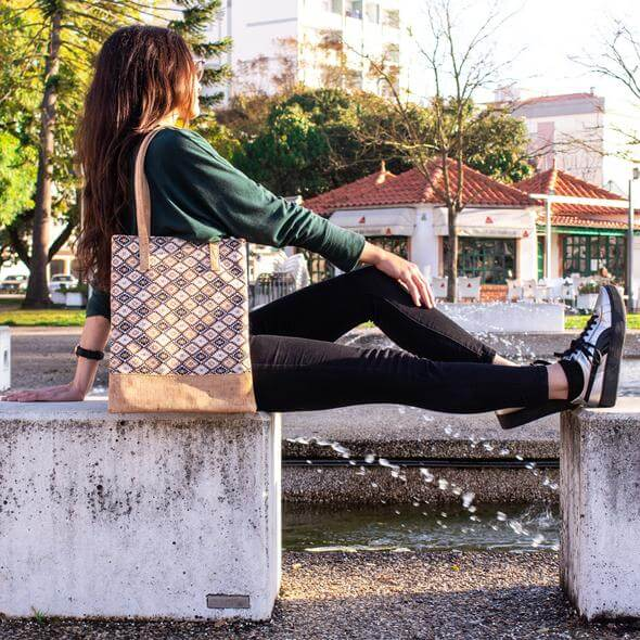 girl with vegan leather cork tote