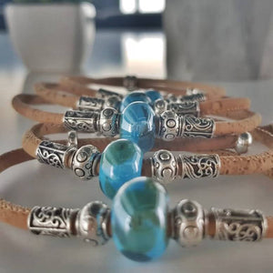 vegan leather bracelet with blue charm 100% natural