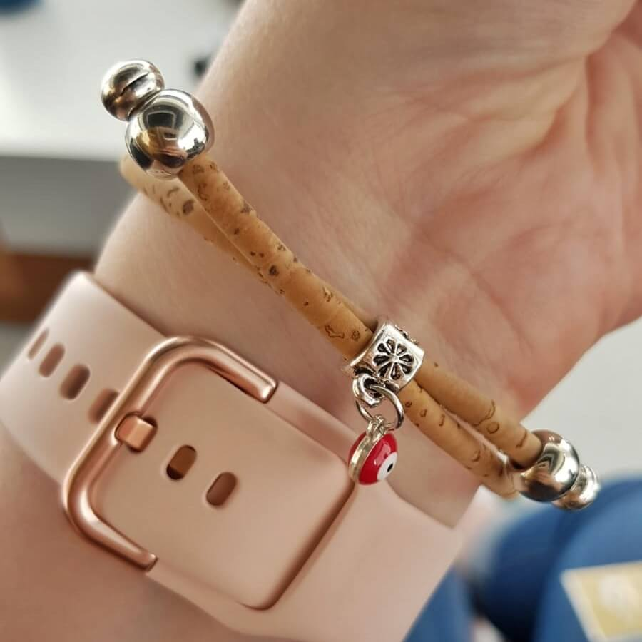 Back of the vegan cork leather bracelet with red bead