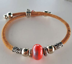 vegan leather bracelet with red charm