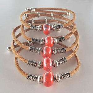 vegan leather bracelets with red charms