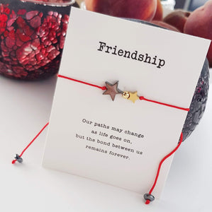 Gold And Black Hematite Double Star Friendship Card Bracelet