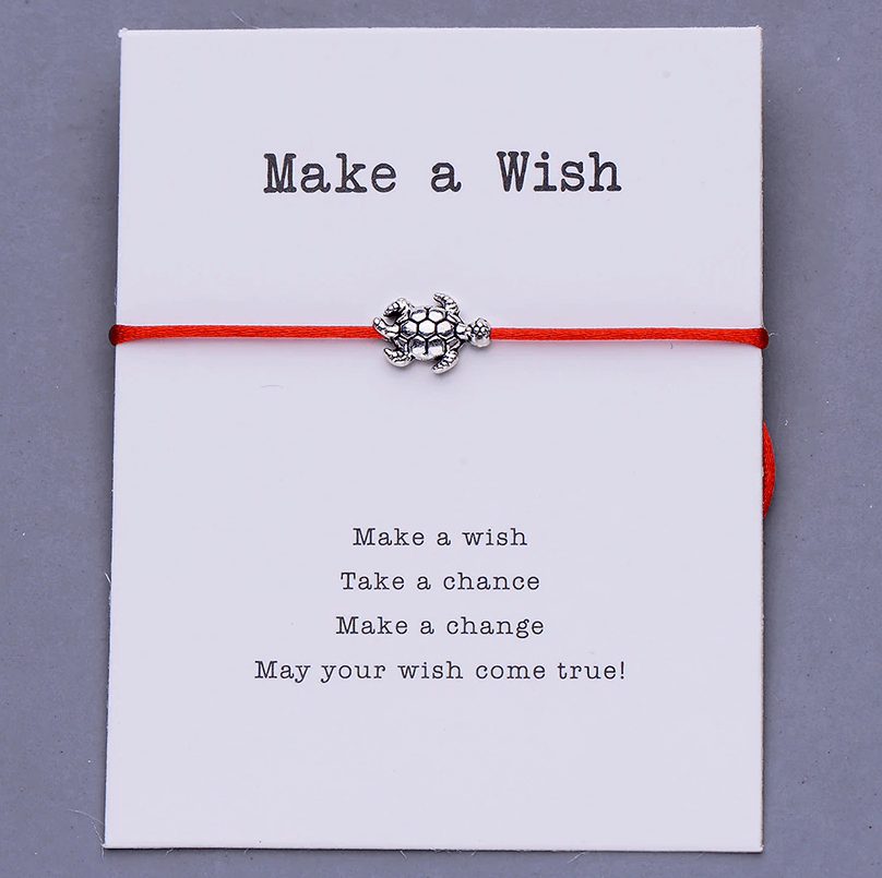 Make a wish res string bracelet with a turtle charm