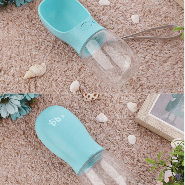 blue portable dog water bottle